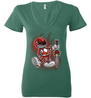 Vintage Red Ranger-Pop Culture Women's V-Necks-Punksthetic Designs|Threadiverse