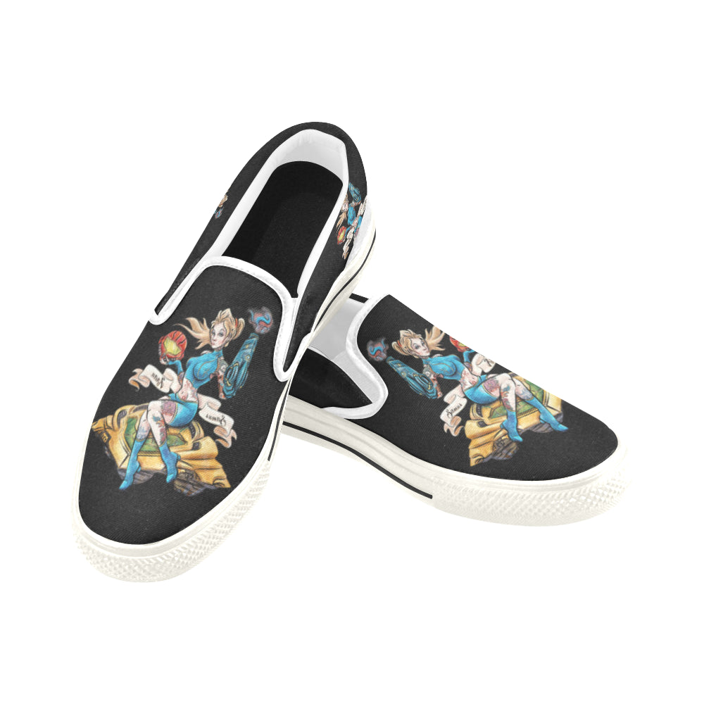 Pinup Samus Black Women's Slip-on Canvas Shoes/Large Size (Model 019)
