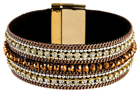 Gold Brown Row Magnetic Bracelet