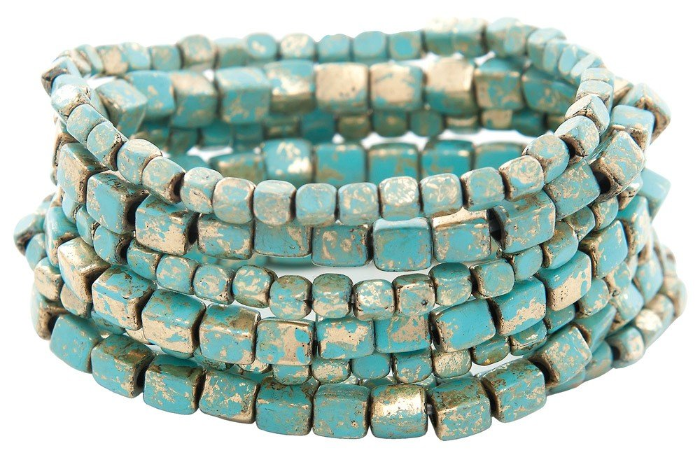 Patina Square Bead Bracelet Set