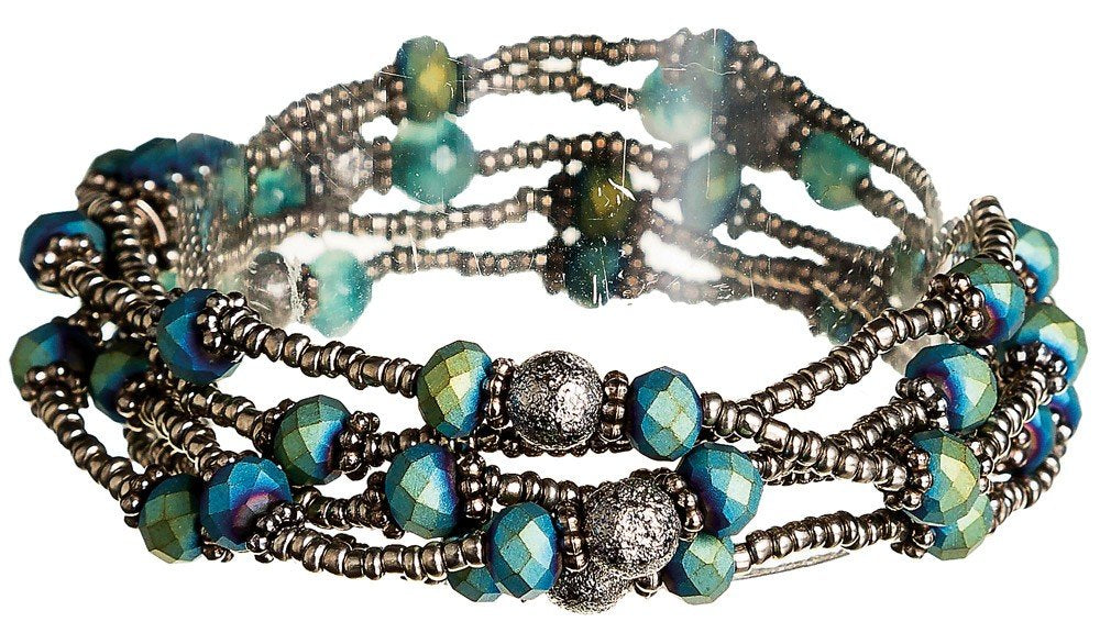 Teal Grey Bead Bracelet