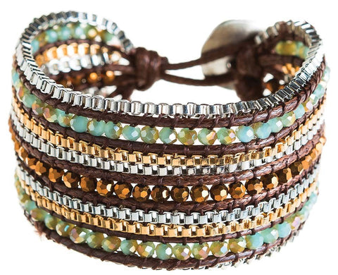 Brown Glass Bead Row Bracelet