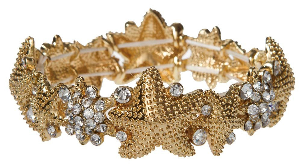 Gold Clear Crystal Starfish Stretch Bracelet