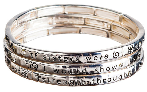 SILVER SISTER THEME STACKABLE BRACELET SET