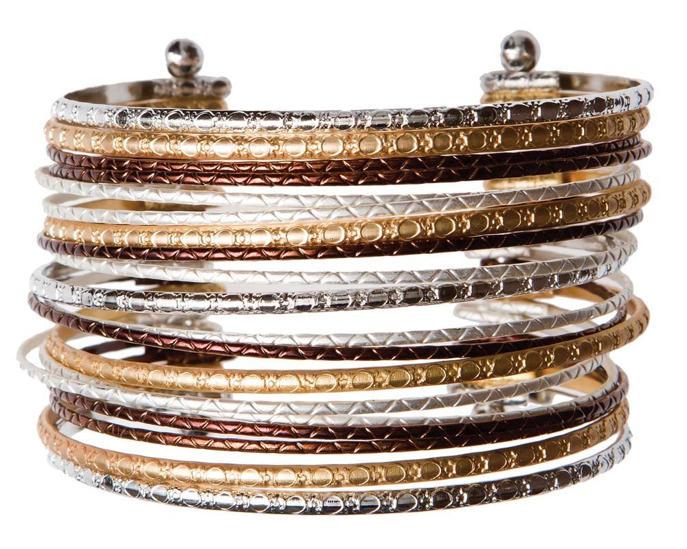 Copper, Gold and Silver Stacked Textured Cuff Bracelet