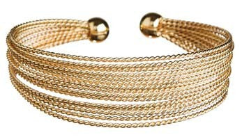 Gold Multi Braid Wire Cuff Bracelet