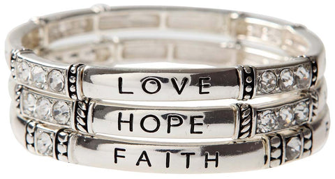 "Shiny Silver ""FAITH HOPE LOVE"" Inspirational Bracelet Trio"