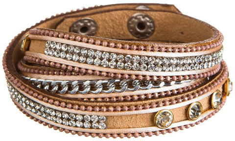 Natural Tan Bling Leather Wrap Bracelet