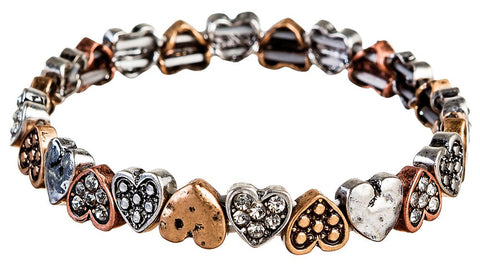Multi Metal Mini Heart Stretch Bracelet