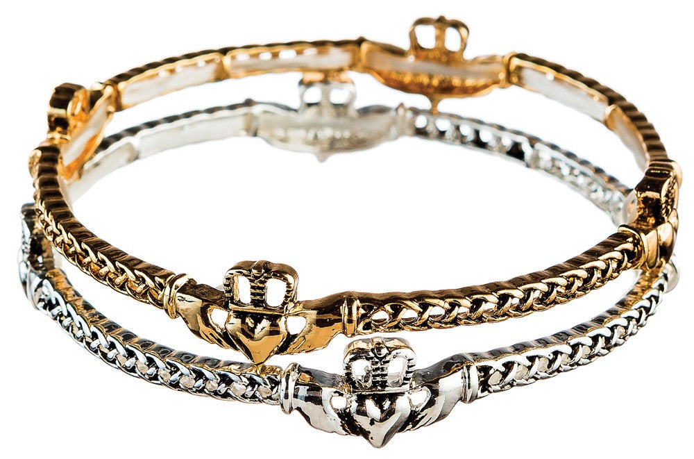 Gold and Silver Claddagh Bracelet Duo