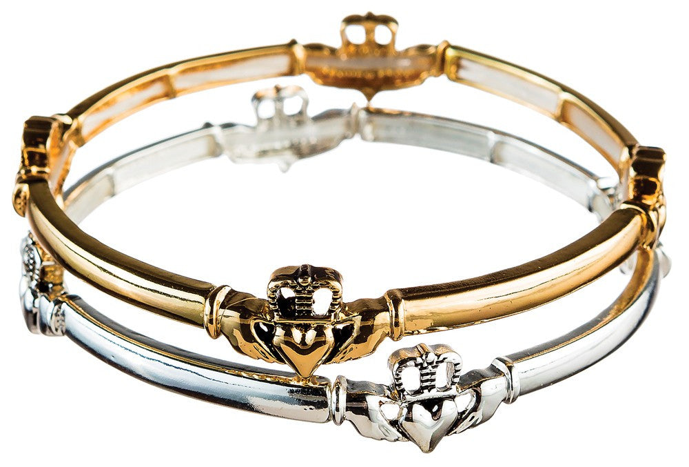 Gold and Silver Duo stretch Claddagh Bracelet