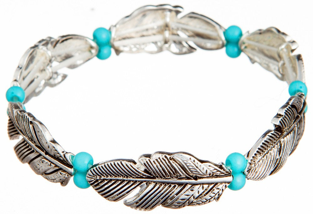 Silver Feather w/ Turquoise Beads - Stretch Bracelet