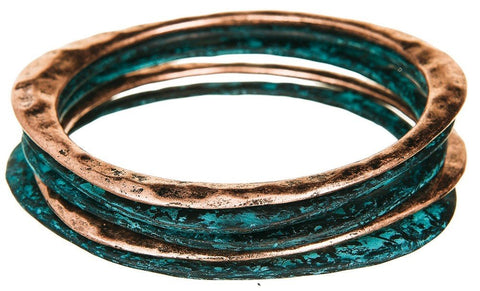Copper Patina Bangle Set