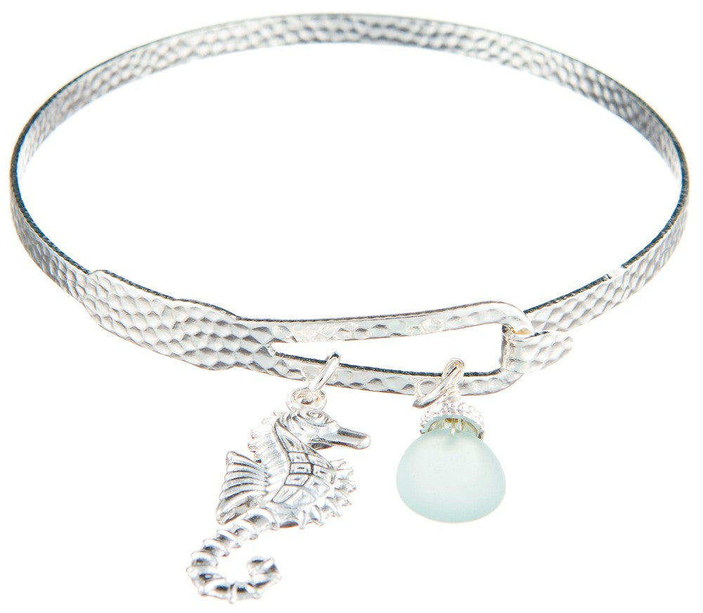 Silver Bangle Bracelet with Seahorse Charm