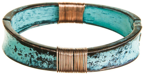 Patina Bracelet with Copper Wire Wraps