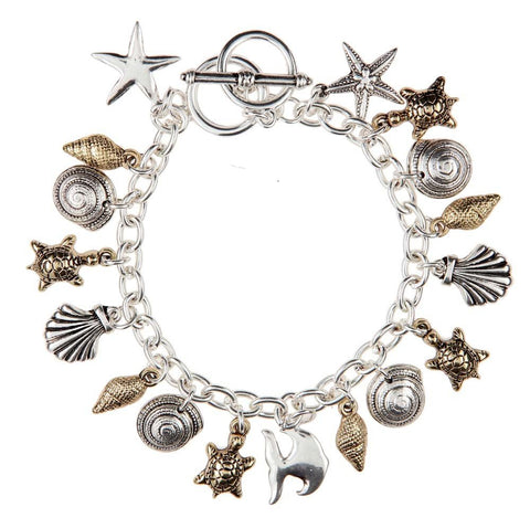 Two Tone Sea Life Charm Toggle Bracelet