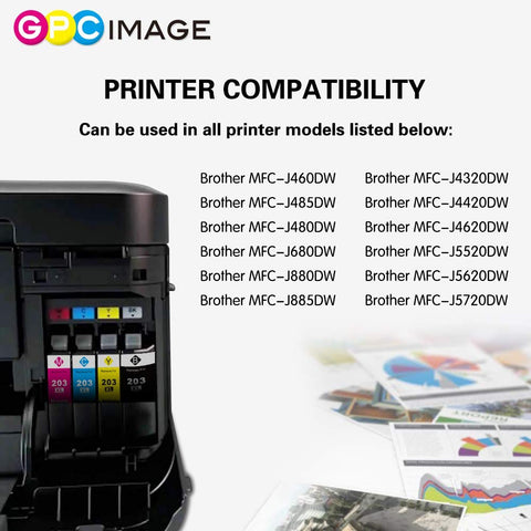 HGZ 12 Pack Color Replacement for Brother LC203XL Work with Brother MFC-J480DW MFC-J885DW MFC-J485DW MFC-J880DW MFC-J680DW MFC-J4420DW MFC-J4620DW MFC-j460DW MFC-J5620DW MFC-J5720DW J5520DW J4320DW