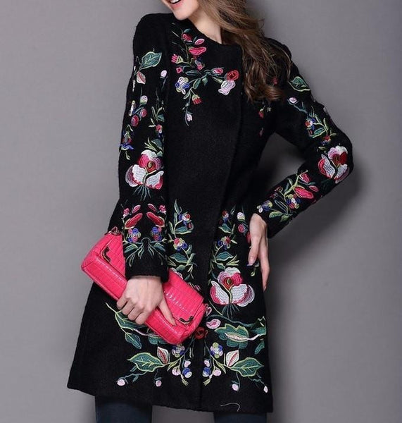 Street Style Long Style Heavy Embroidered Wool Coat - Outerwear for Women by Zeelous