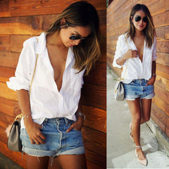 White Blouse Casual Long Sleeve V-Neck
