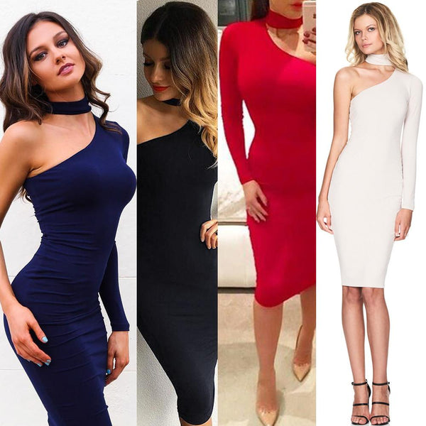 One Shoulder Oblique Neck Bodycon Dress - Zeelous Street Style