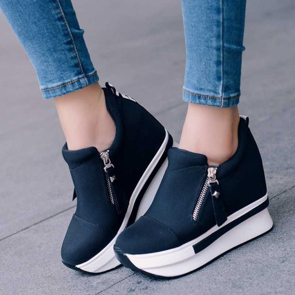 Wedge Internal Zipper High Platform Sneakers - Zeelous Street Style