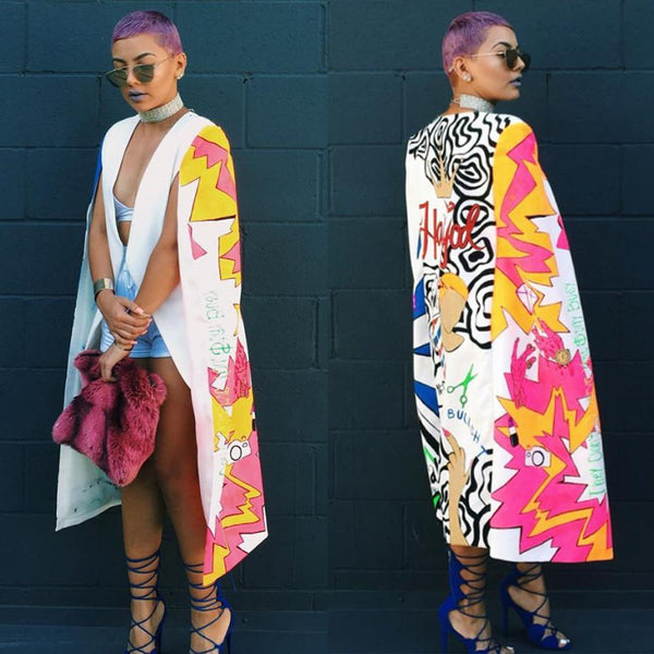 Color Printing Long Suit Jacket - Zeelous Street Style