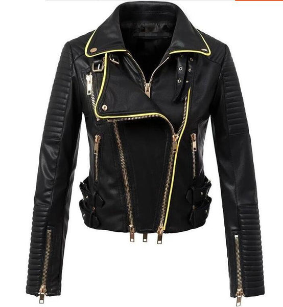 Black Leather Gold Zipped Jacket - Zeelous Street Style