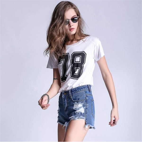 Casual Ripped Hole Washed Denim Shorts