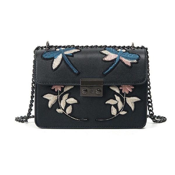 Floral Zipper Lock Satchels Bag - Zeelous Street Style