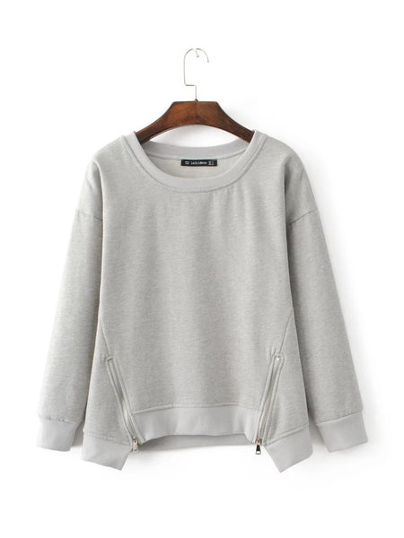 Casual Zipper Cotton Sweatshirt Pullover - Zeelous Street Style