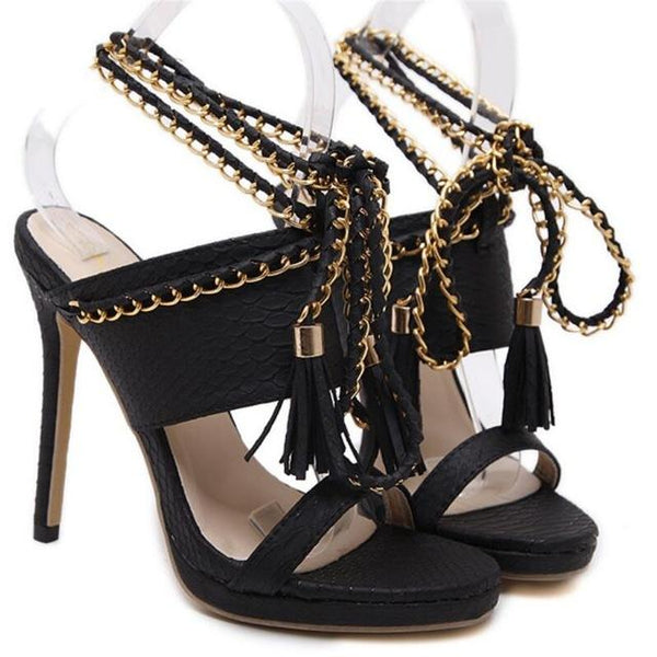 Tassel Gladiator Chain Slippers Sandals