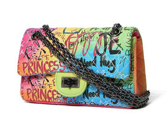 Graffiti Buckle Chain Mini Oblique Bag