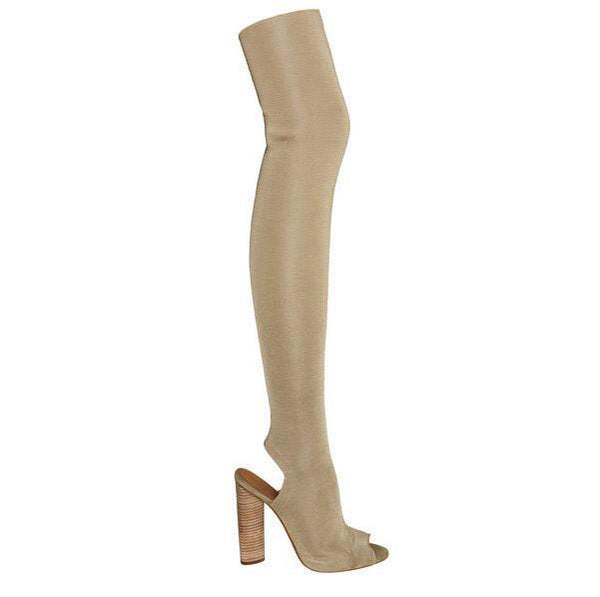 Stretch Open Toe Thigh Boots