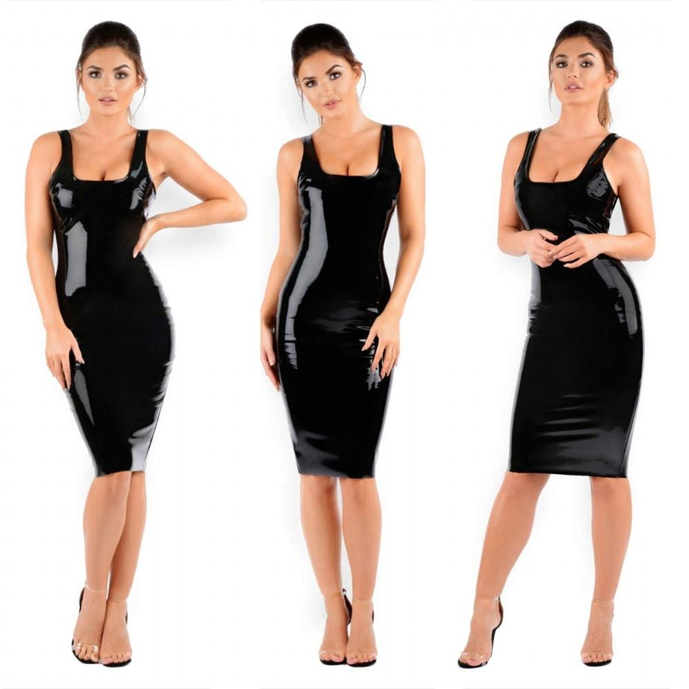 Black Latex Backless Square Collar Dress - Zeelous Street Style