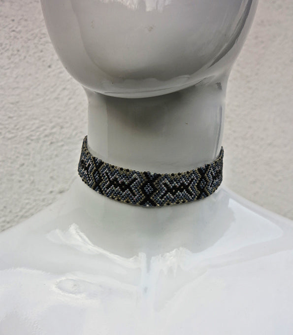 Crystal Beaded Flat Choker