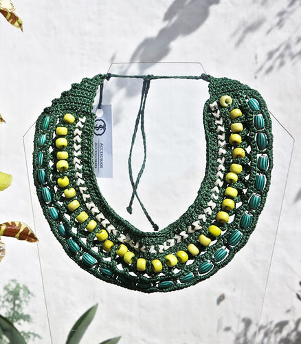 Crochet Necklace with African Trade Beads