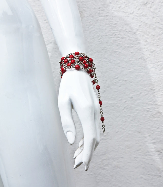 Hand knotted Czech Crystal Bead & Sterlin Silver Versatile Chain