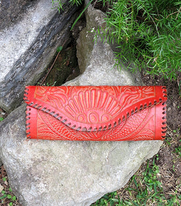 Embossed Leather Taco Clutch