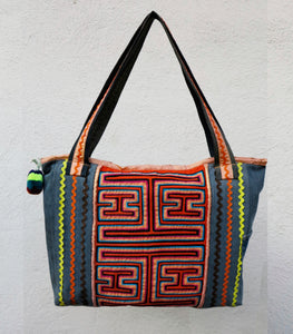 Ileana Sotela Accesorios Handmade Recycled Denim and Mola Bag