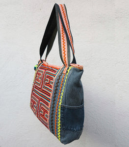 Handmade Recycled Denim and Mola Bag
