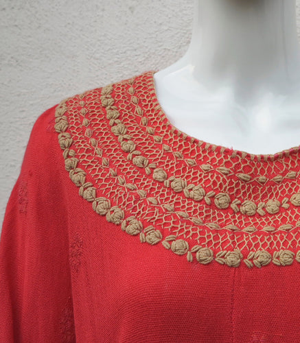 German Cotton Huipil with hand embroiderd details.