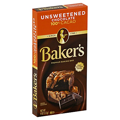 Baker's Unsweetened 100% Cacao Baking Chocolate Bar  4 oz  ($0.56/ounce)