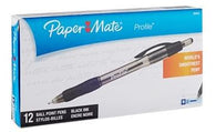Paper Mate® Profile™ Retractable Ballpoint Pens, Bold Point, 1.4 mm, Translucent Black Barrel, Black Ink, Pack Of 12