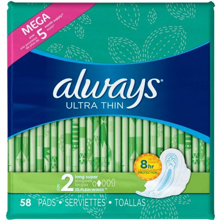 Always Ultra Thin Long Super Pads With Wings Unscented 58 ct