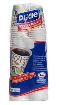 Dixie® PerfecTouch® Hot Cups And Lids, 12 Oz., White, Pack Of 50 Cups & 50 Lids