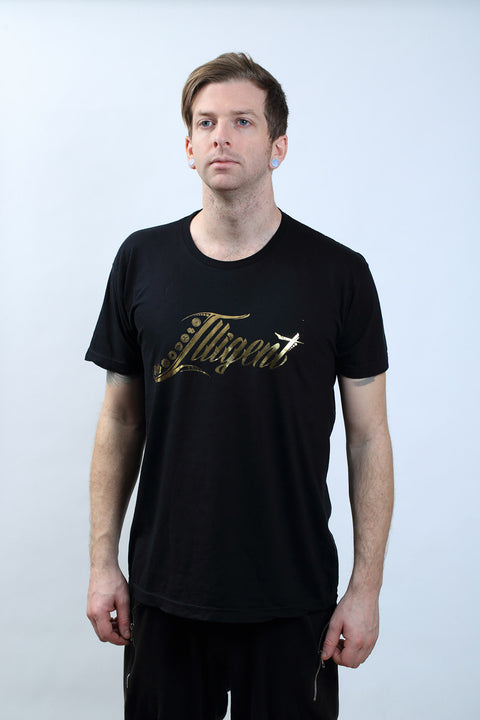 Illigent Apparel Gold Foil Logo T-Shirt Upper Front Body