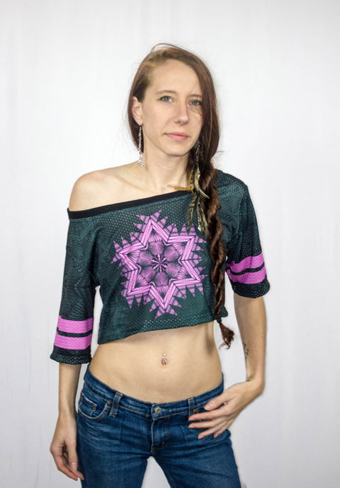 Illigent Apparel Womens Mandalien Crop Jersey Front Top