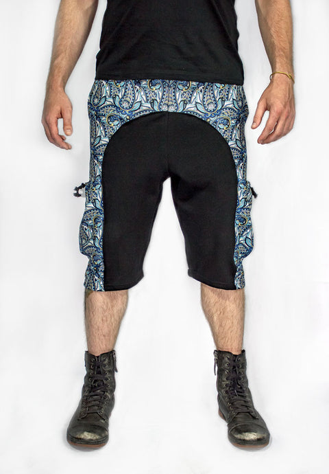 Men's Blue Paisley Cargo Sweat Shorts