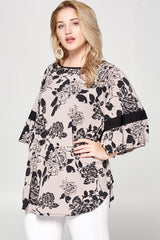 Shirts, Floral Printed Fashion Top with Bell Sleeve Detail