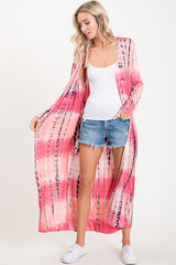 Top, Long Sleeve Tie-Dyed Cardigan